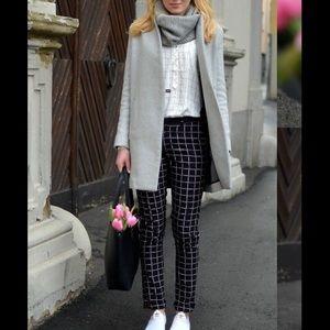 ZARA WOMAN BLACK & WHITE CHECKERED PANTS