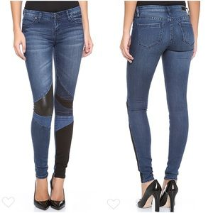 BLANK NYC Blue Black Patchwork Skinny Jeans