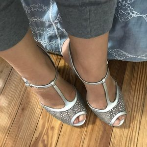 Adrianna Papell Boutique silver evening shoe
