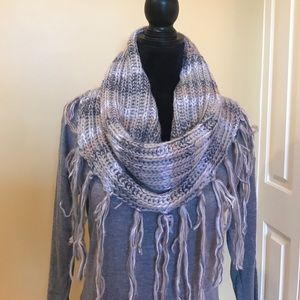 BCBGenedation Grey Striped Scarf