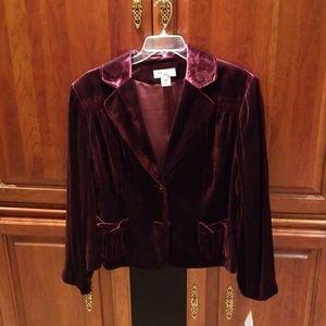 NWT Nine West Burgundy Velvet Cropped Jacket