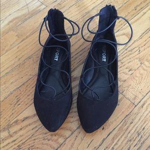 Report black lace up flats