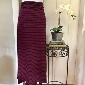 J CREW Burgundy & Navy Striped Maxi Skirt