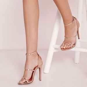 Missguided rose chrome strap heels