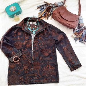 Chicos Dark Blue Demin Jeans Jacket Brwn Embroider