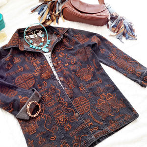 Chicos Dark Blue Demin Jeans Jacket Brwn Embroider