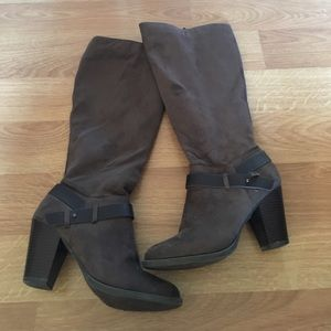 Chocolate suede heeled boots