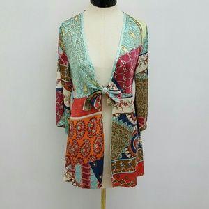 CAbi kimono style patchwork tie front tunic