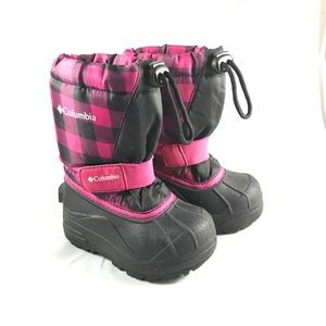 Columbia Powderbug Pink/Black Plaid Snow Boots 7