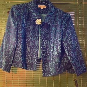Jackets & Blazers - Very nice torquise and blue jacket with broach
