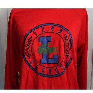 Vintage Lacoste Red Crew Unisex Sweatshirt SZ M/L