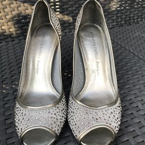 Silver Adrianna Papell Boutique Peep Toe Heels