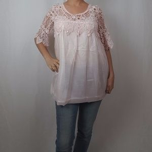 NWT VINTAGE CROCHET LACE TUNIC IN LIGHT PINK