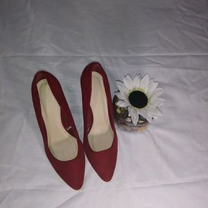 Forever 21 Red faux suede wedge shoe