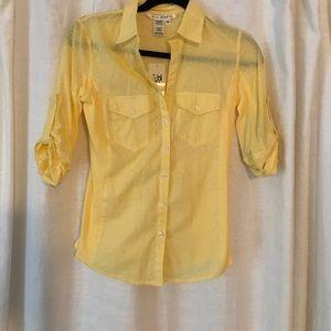 NWT Max Studio Yellow Button Down Shirt size XS