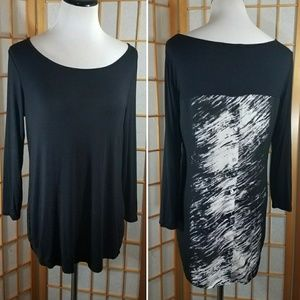 Rose & Olive, black and white high low blouse