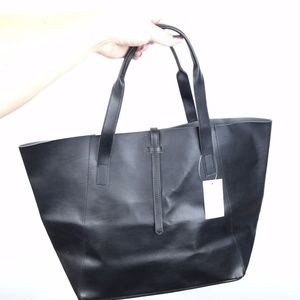 Saks Fifth Avenue black classic vegan tote bag
