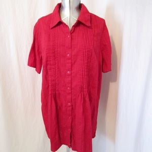 Woman Within Red Tunic Top