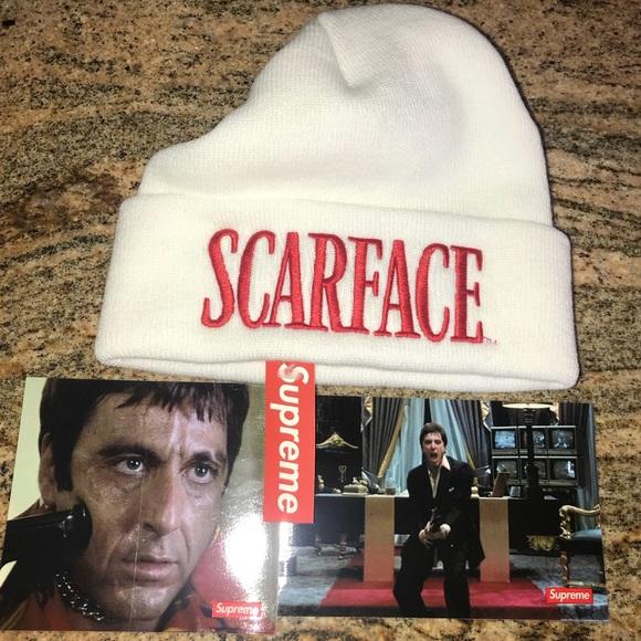 f7e26552188 NWT SUPREME SCARFACE BEANIE 🔥WHITE ONLY!!