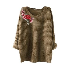 Sweaters - Rose Patch Olive Cable Knit Pullover Sweater, OS