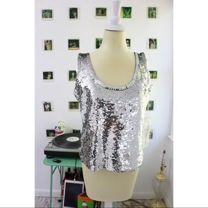 Sequin Shell Top In Metallic Silver