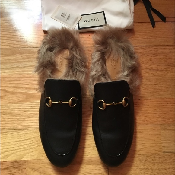 bc80d7b5dc4 Gucci Shoes - GUCCI Princetown Black Fur-Lined Slippers