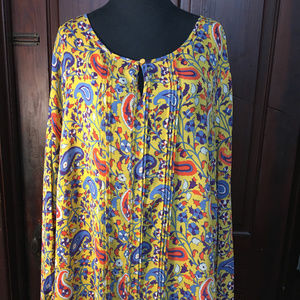 Yellow Blue Purple Paisely BOHO L/S Top size 2X