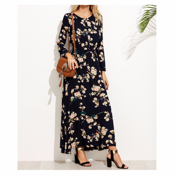 97964ee1522 MBM Unlimited Dresses | Dark Blue Long Sleeve Floral Maxi Dress ...