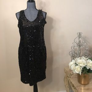 Dresses & Skirts - Black sequin stretchy dress with thick straps