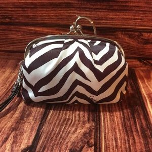 Coach Satin Zebra Print Kisslock Framed Wristlet