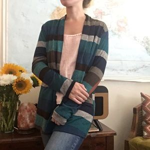Green Stripe Cardigan with Elbow Patches