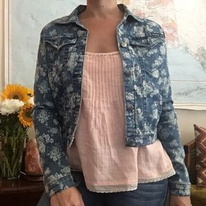 Floral Denim Crop Jean Jacket
