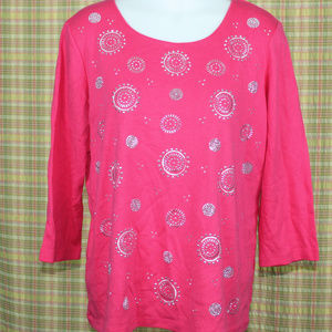 3/4 Sleeve Embellished Print Top XL (Pink Twist)