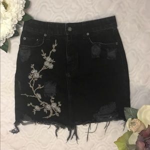 Carmar Denim Distressed Floral Embroidered Skirt