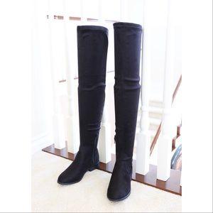 jingo-black-micro strech suede-over knee boots