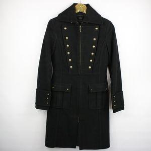 Mango Black Military Style Long Coat Size XS