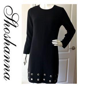 Shoshanna Black Long Sleeve Grommet Trim Dress 10