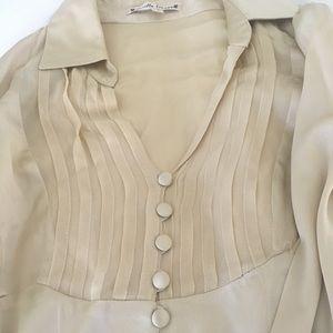 Nanette Lepore beige silk button down blouse