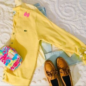 IZOD Lacoste Vintage Cardigan Varsity Sweater