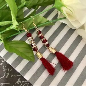Jewelry - ✨New! Iridescent Tassel Earrings (Red Edition)