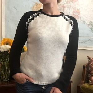 Loft Cream and Black Beautiful Sweater