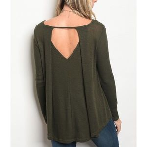 | OLIVE CUT OUT KNIT TOP |