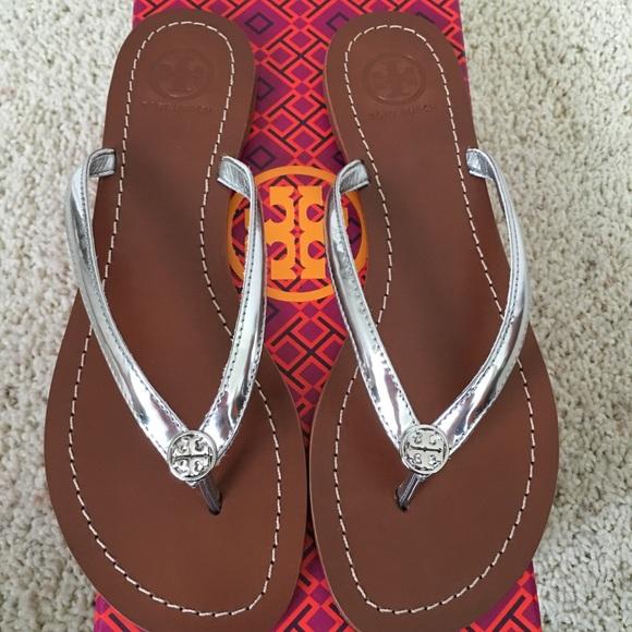 9ead5b8f6b06 Authentic NIBTory Burch Terra Thong Sandals Silver