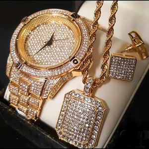 Other - SALE*Iced Out Gold Bling Hip Hop Men's Jewelry SET