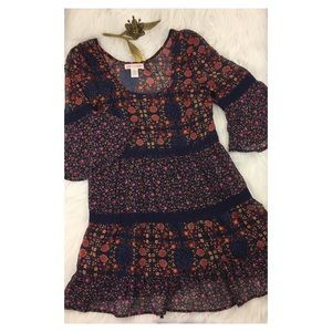BAND OF GYPSIES Boho Dress Floral Bell Sleeve Sz S