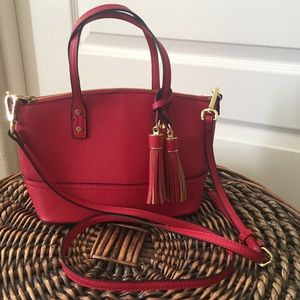 Red crossbody bag with tassels