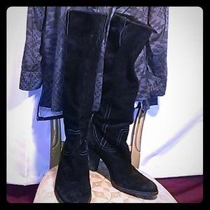 Via Spiga knee high suede cowboy boots w/heel