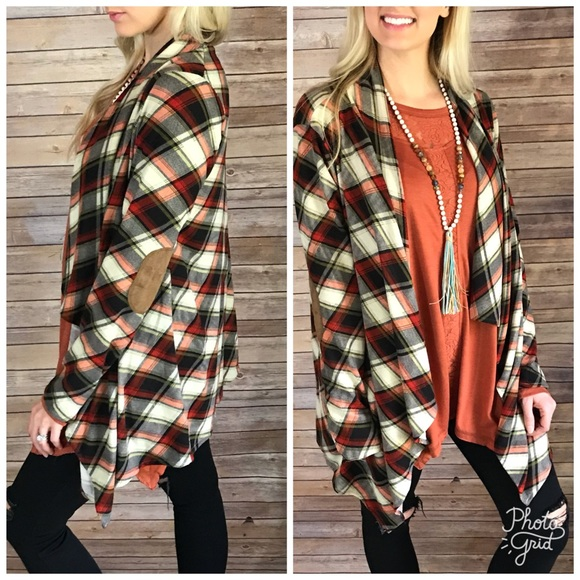 100% off Sweaters - Plaid Waterfall Cardigan from White box ...