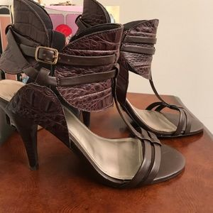 Fergie Leather Zip Bootie Stiletto Heels