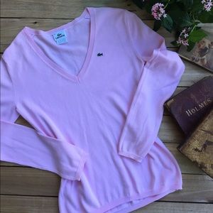 Lacoste Classic V-Neck Pale Pink Sweater